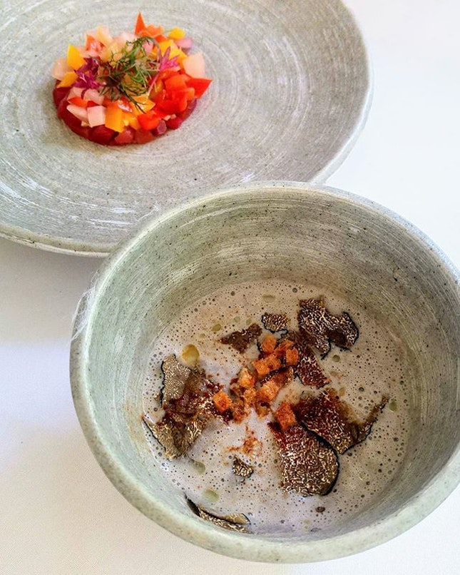 [Lewin Terrace] - Cured Salmon with Pickled Vegetables and Fresh Truffle Mushroom Soup (+ $5) with 67°C Onsen Egg.
