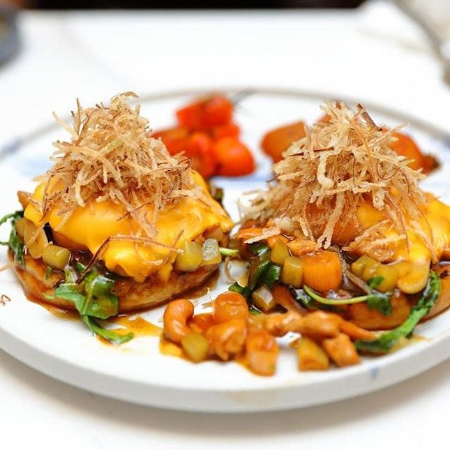 [Halcyon & Crane] - King's Chicken Hash Benedict ($21).