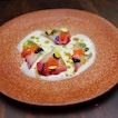 [Maggie Joan's Dining & Bar] - Swimming in a pool of almond sauce is the Hamachi Crudo ($17).