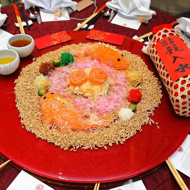 [Peach Blossoms] - Tossed to a year of abundance and good fortune with the Prosperity Salmon Yu Sheng with Crispy Whitebait and Nashi Pear ($78/$118).