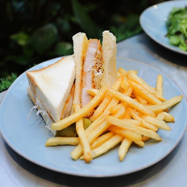 [Baristart Coffee] - The Tonkatsu Sando ($16.80) comes with tender pork cutlet and coleslaw, sandwiched between 2 slices of fluffy bread is pretty enjoyable.