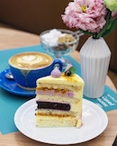 [The Marmalade Pantry] - The Blue Rhapsody ($10 per slice, $70 for a whole cake) comes in a huge slice, composed with layers of blueberry gel, lavender hazelnut crumble and sponge cake, topped with cream cheese frosting, blackcurrant meringues and a sprinkling of gold dust.