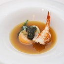[Gordon Grill] - Japanese-inspired soup which features a tender, juicy Red Prawn sitting atop daikon in an umami seaweed broth with spinach and sous vide organic egg.