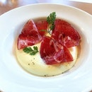[Stockyard Beef] - thinly sliced pieces of Wagyu Bresaola with mashed potatoes.