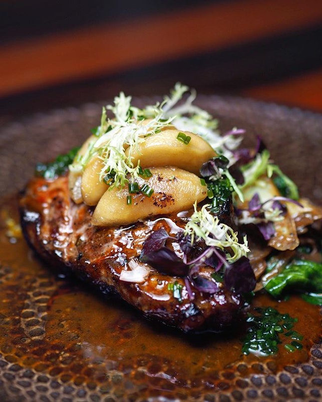 [Bedrock Bar & Grill] - The goodness of Budou-buta pork can be enjoyed in different forms and textures - one of our favourite being the Woodfire Grilled Pork Steak ($58++), which comes with sauté potatoes and herb truffle sauce.