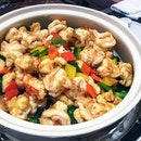 [Li Bai] - Sauteed Lobster Claw, Prawns with Broccoli.