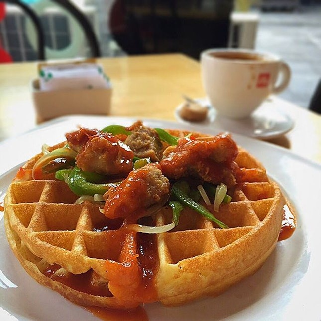 #savoury #chicken #waffle to kick start the day.