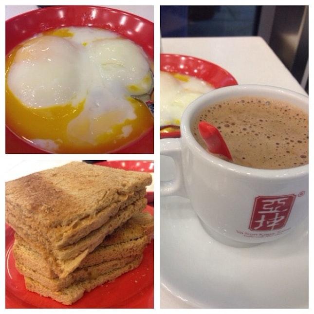 Hot milo, soft-boiled egg and peanut butter & kaya toast #localbreakfast #foodporn
