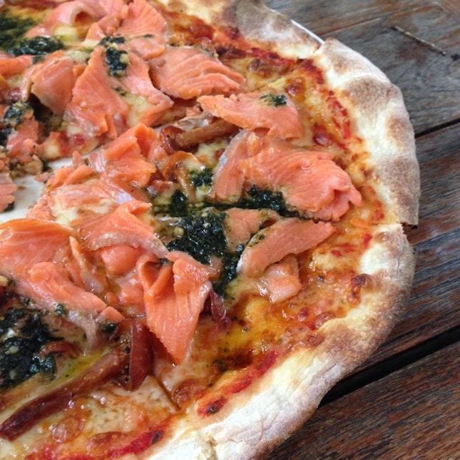 Smoked Salmon, Mushrooms & Basil Pesto