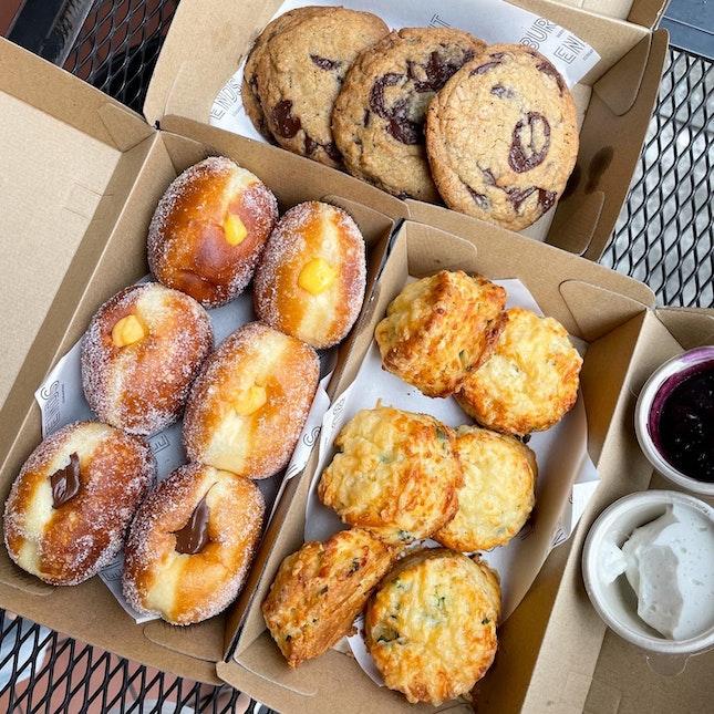 Doughnuts/ Gruyere Cheese & Scallion Scones