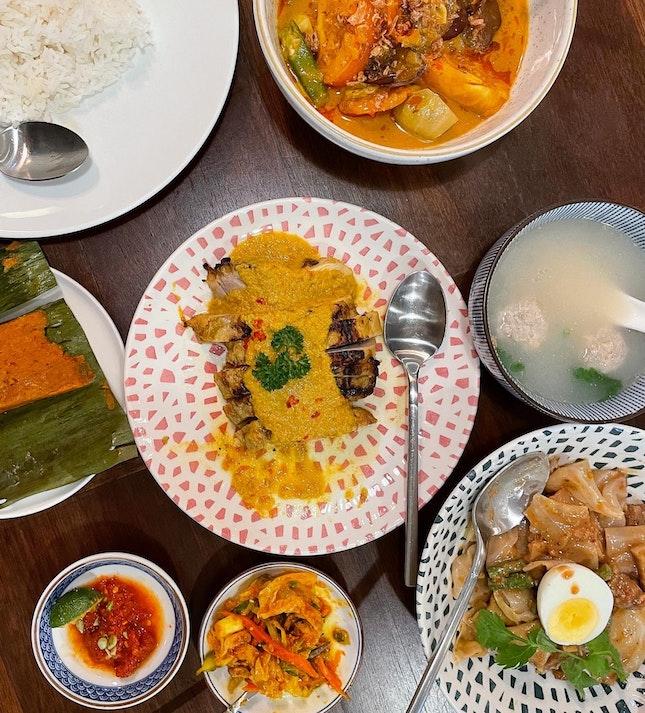 """Gado Gado/ Otak Otak/ Curry Vegetables/ Ayam Panggang """"blue Ginger"""""""