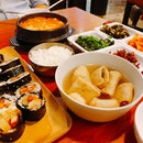 Sundubu Jjiggae ($13.90), Fishcake Soup And Chicken Gimbap