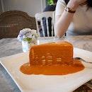 Thai milk tea crepe cake.