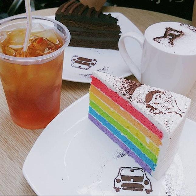 Cream Cheese Rainbow Cake