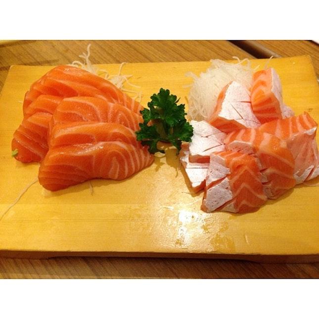 Salmon Sashimi #salmon  #sashimi #belly #fat #omega #nutrients #sweet #chewy #soy #sauce #wasabi #latepost #nofilter #instapic #instatag #instafood #instadaily #foodporn #foodpic #food #igfame #iphone5c #singapore