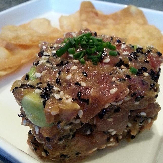 Avocado wasabi tuna tartare with flour chips!