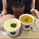 Hokkaido Corn Potage with Sweet Potato x Hokkaido Pumpkin Potage.