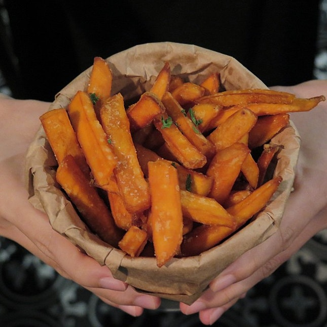 A bucket of Sweet Potato Fries for you?