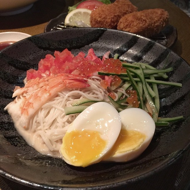 Kaisen Somen with sesame sauce.