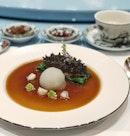 Braised Stuffed Prickly Sea Cucumber, Iberico Pork, Preserved Vegetable, Winter Melon, Mushroom, Seasonal Vegetables.