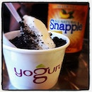 #yogurt with oreo ceumbs and Peach Tea #snapple #desserts #foodporn