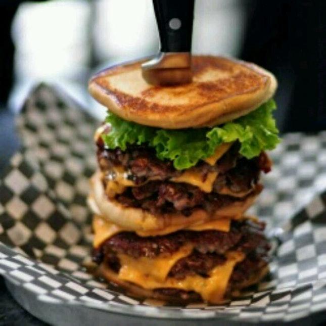 Pancake cheese burger