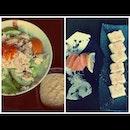 Pari Pari Salad, Salmon Sashimi, and Atsuyaki Tamago ☺ #dinner #sushi #japanese #cuisine #likeforlike #picoftheday