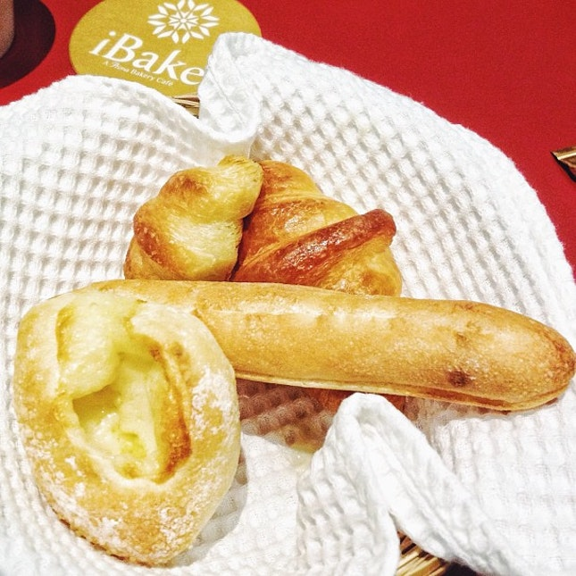 Super good bread basket consisting of French Sticks with Milk Cream, Gruyere Cheese, Anchovy & French Croissants.