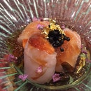 Uni Wrapped With Hirame Topped With Caviar
