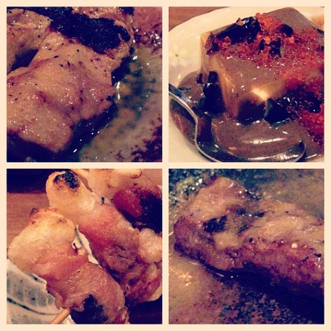 Foie Gras/ Century Egg Tofu/ Pork wrapped Mochi/ Beef Steak and many other char-grilled awesomeness