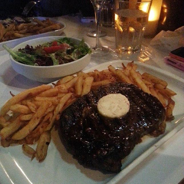 Food for x'mas #lastnight #lesbouchons #foodporn #instafood #burpple #sgfood #ilovesteak  #feelingalotlikechristmas #goodfoodgoodcompany #xmasdinner #shiok #ribeyesteak #steakandchampagne #yum