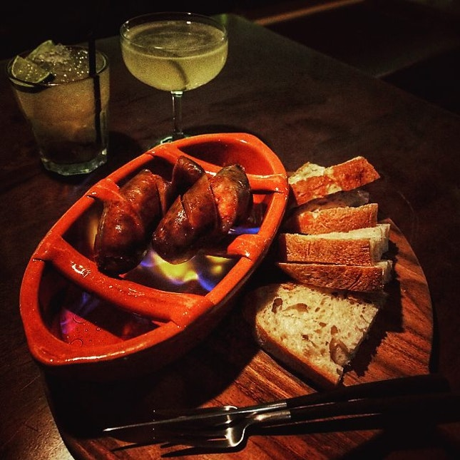 #throwback #repost #authentic #Portuguese #flaming #with #brandy #chorizo #igsg #photooftheday #Singapore #instasg #cocktails #pairing #bread #hungrygowhere #burpple