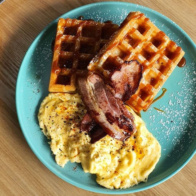 Waffles With Scrambled Eggs And Bacon