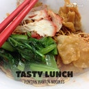 Having wanton noodles as my #lunch.