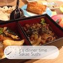 My #dinner of the day, Black Pepper Wagyu & Agemono Bento & Salmon Sashimi.
