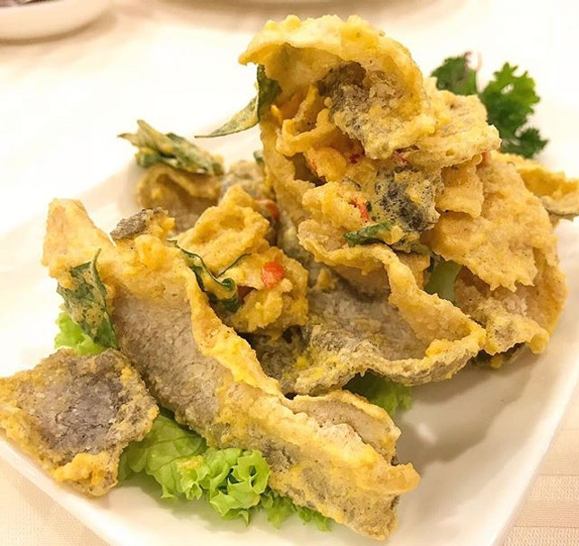 Crispy fish skin with salted egg ($9).