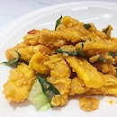 Salted egg sotong ($15.80/small, $21.80/medium). •HOSTED TASTING•