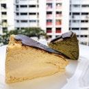 Kins' burnt cheesecake ($8), Houjicha burnt cheesecake ($8.50).