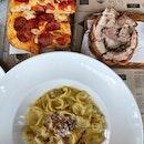 Orecchiette ($19), Porchetta ($9), Pepperoni Pizza ($9)