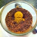 Gingerbread stuck in chocolate sandtrap!