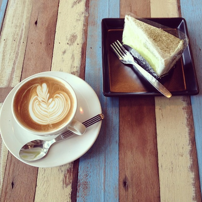 flat white with greentea cake great !