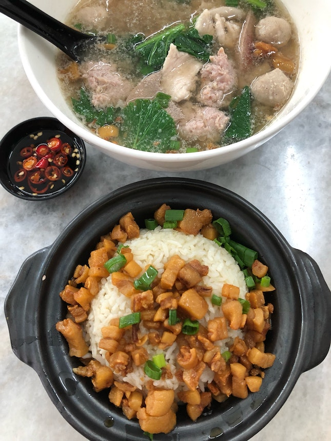 Pork Lard Rice With Mixed Pork Soup