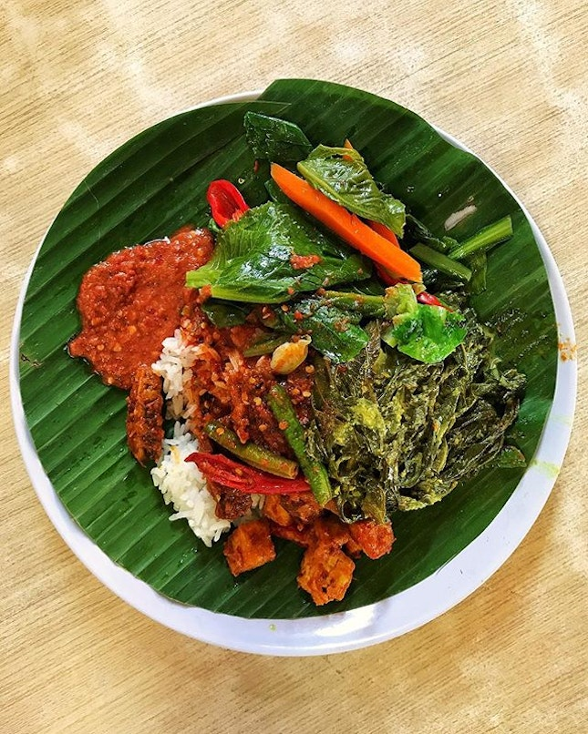 #AnythingAlsoEat - Nasi Padang, Sambal Goreng, Daun Singkong and Stir-fried Kai Lan.