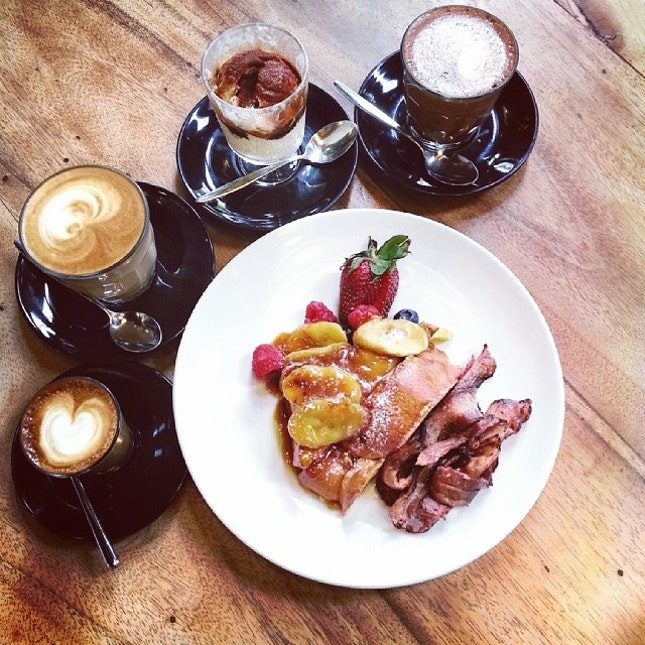 Piccolo Latte, Cafe Latte, Affogato, Mocha Chai & decadent French Toast with caramelised bananas to share ♡